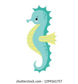 Cute cartoon Sea horse isolated. Seahorse on a white background, vector illustration.