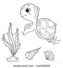 Cute cartoon sea turtle. Vector black and white outline illustration for coloring book.