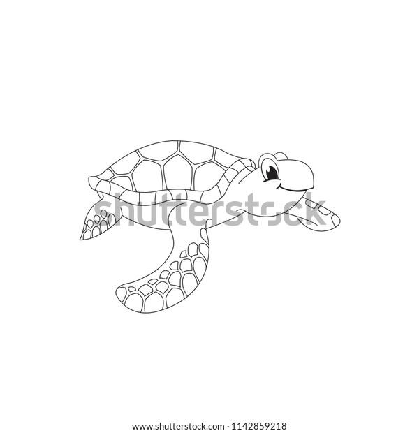 Cute Cartoon Sea Turtle Vector Stock Vector Royalty Free 1142859218