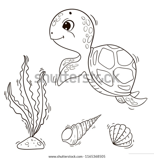 Cute Cartoon Sea Turtle Vector Black Stock Vector Royalty Free