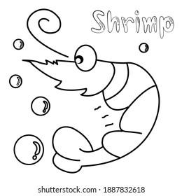 Cute cartoon sea water animals. Shrimp , Coloring book
