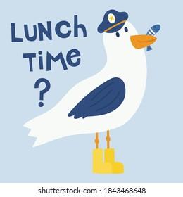 Cute Cartoon Seagull Drawing With Slogan Vector