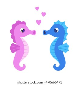 Cute cartoon seahorse couple. Male and female sea horses with hearts. St. Valentines Day vector greeting card illustration.