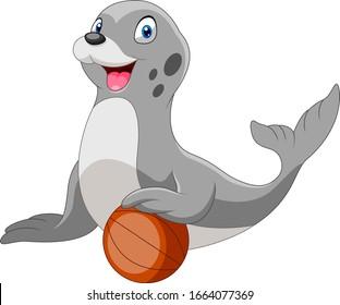 Cute cartoon seal playing a ball