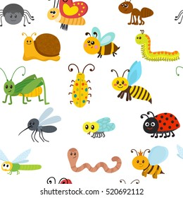 Cute cartoon seamless pattern with insects. Vector illustration