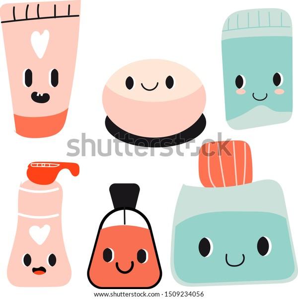 Cute Cartoon Seamless Pattern Kawaii Cosmetics Stock Vector Royalty Free 1509234056