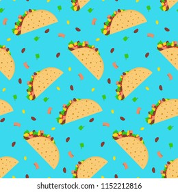 Cute cartoon seamless pattern with mexican tacos on bright blue background. Nice fastfood texture for textile, cafe and restaurant wrapping paper, covers, banners, wallpaper