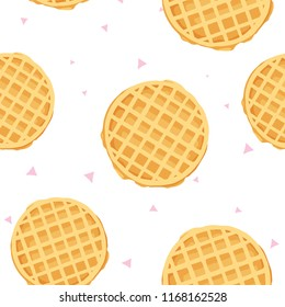 cute cartoon seamless pattern with waffle and triangles. friendship concept. childrens vector illustration