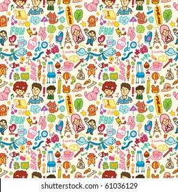 cute cartoon seamless pattern,vector illustration