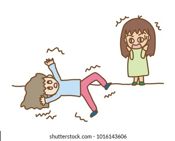 cute cartoon of a seizure person with a shocked observer.