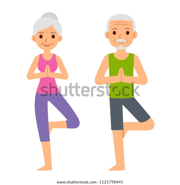 Cute cartoon senior couple doing yoga, illustration isolated on white background. Older man and woman in tree pose. Modern minimal flat vector style.