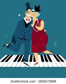 Cute cartoon senior couple dressed in 1920s fashion dancing the Charleston on a piano keys, EPS 8 vector illustration