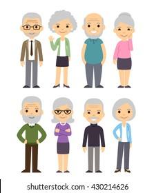 Cute cartoon senior people set. Happy old people, men and women, isolated flat vector illustration.
