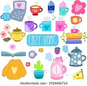 Cute cartoon set - Cozy home. Design elements, for children. On a white background. Scandinavian style. Isolated. Clip-art, stickers, advertising. Flat, Doodle. Contour, Black and White.