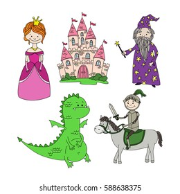 Cute cartoon set of hand drawn sticker puppets: princess, castle, knight on horse, wizard, dragon. Vector illustration.