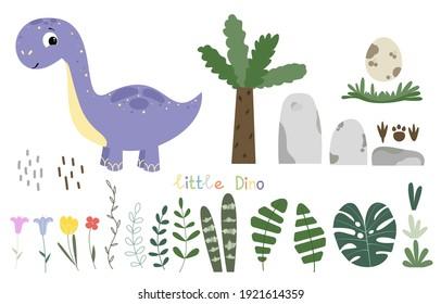Cute cartoon set with joyful brontosaurus, grass, green tropical leave, stones, footprints, flowers and text ' little Dino'.   Herbivorous dinosaur on a white background. Cheerful prehistoric animal.