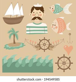 Cute cartoon set with sailor, boat, anchor, fishes, palm, rudder, heart, waves and island