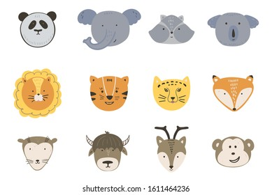 Cute cartoon set of wild animals faces. Hand drawn grey, orange and brown animals. Vector illustration Ideal for kids and baby  fabric, nursery. Panda, giraffe, elephant, lion, tiger and others.