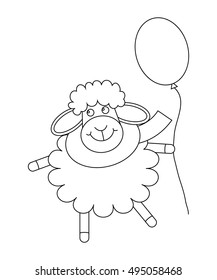 Cute cartoon sheep with balloon. Outlined animal. Coloring page for children or greeting card. Vector illustration.
