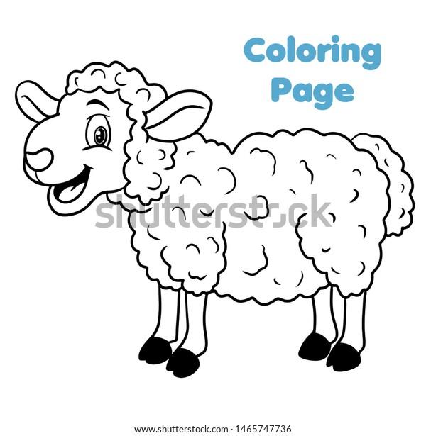 Cute Cartoon Sheep Coloring Page Vector Stock Vector ...