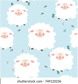 Cute cartoon sheep lamb in the flower garden character smile and satisfied, happy seamless pattern by hand draw doodle comic style,animal set vector design