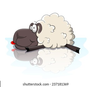 Cute cartoon sheep lying on the ice