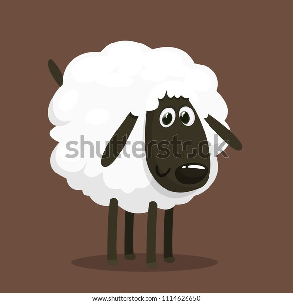 かわいいマスコットキャラクター ふわふわした羊の餌のベクターイラスト 分離型 のベクター画像素材 ロイヤリティフリー