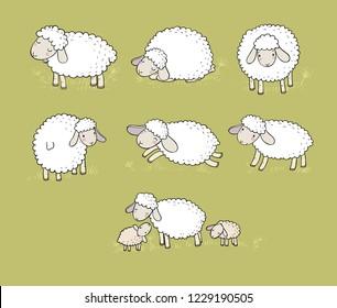 Cute cartoon sheep set. funny lambs. farm animals