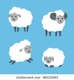 Cute cartoon sheep set. Standing, jumping and lying. Male ram with horns. Vector illustration.