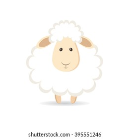 Cute cartoon sheep. Vector illustration