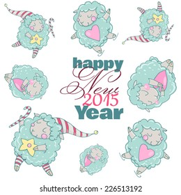 Cute cartoon sheep in vector. Pattern. Cute New Year`s sheep. Dreamy sheep with a heart, dreamy sheep with a star and dreamy sheep skating. Children's picture in pastel colors.