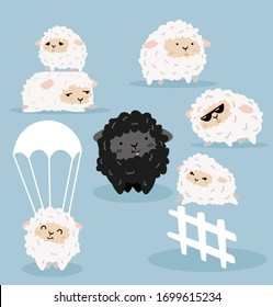 Cute Cartoon sheeps  characters vector set