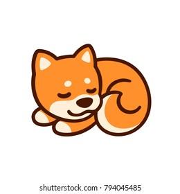 Cute cartoon Shiba Inu puppy vector illustration. Little sleeping dog drawing.
