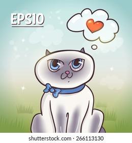Cute cartoon siamese cat