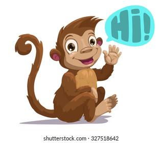 Cute cartoon sitting monkey saying Hi, vector illustration, isolated on white