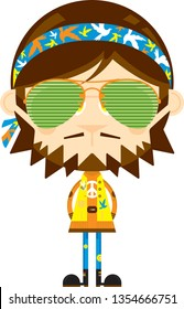 Cute Cartoon Sixties Flower Power Headband Hippie