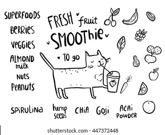 Cute cartoon sketchy cat drinking smoothie. Food illustration. Adorable animal image. Fruit and vegetable drink with superfoods.