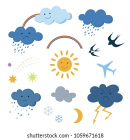 Cute cartoon sky objects weather symbols set clipart