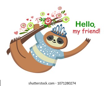 Cute cartoon sloth in the branch