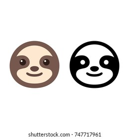 Cute cartoon sloth icon in color and black and white. Smiling sloth face, simple flat vector illustration.