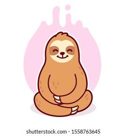 Cute cartoon sloth meditating in lotus position. Simple cartoon drawing of sloth sitting in meditation. Vector clip art illustration.