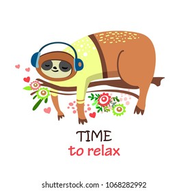 Cute cartoon sloth n the branch. Time to relax