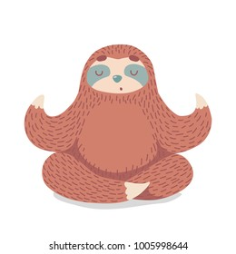 cute cartoon sloth sitting in yoga pose. cartoon animal vector illustration.unique hand drawn vector illustration with sloth.