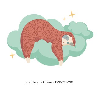 cute cartoon sloth sleeping on cloud with stars around. healthy sleep concept. colorful cartoon animal illustration