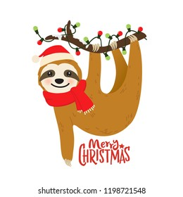 Cute cartoon sloth vector graphic design for Christmas holiday. Merry Christmas print. Adorable hand drawn baby sloth character hanging on the tree in Santa Claus hat