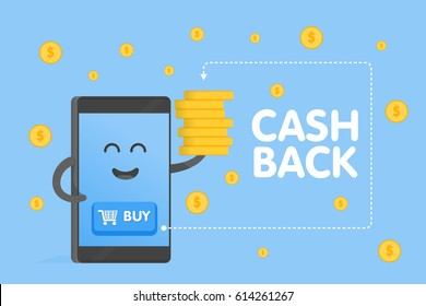 Cute cartoon smartphone characters with buy buttons icon and coins fall rain background. Cashback concept vector illustration.
