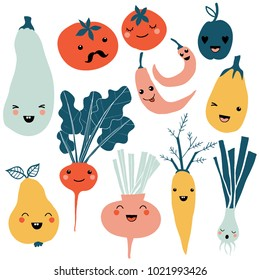 Cute cartoon smiley fruit and vegetable characters. Flat icons set: pepper, carrot, tomato, pear, onion. Colorful design for cards, banners, printed materials. Cute doodle style emoticons.