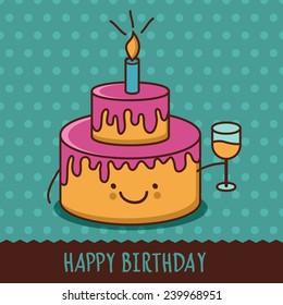 cute cartoon smiling cake glass 260nw