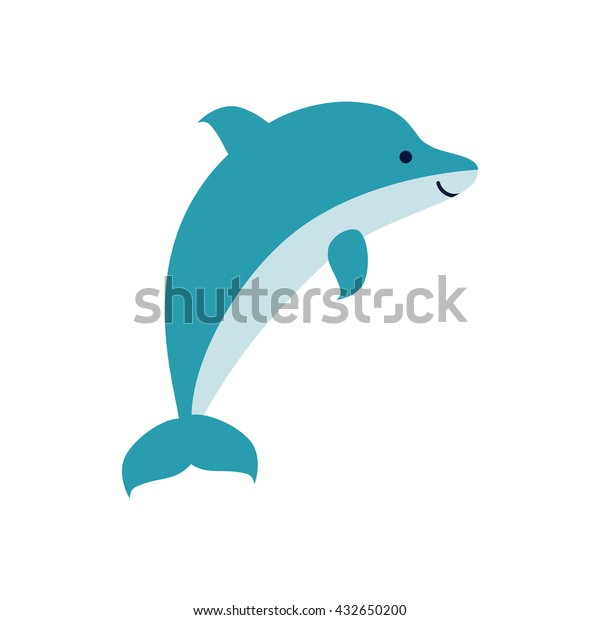 Cute cartoon smiling dolphin isolated on white background. Art vector illustration.