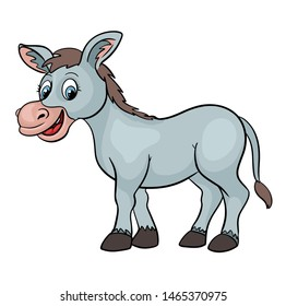 Cute cartoon smiling donkey animal vector illustration